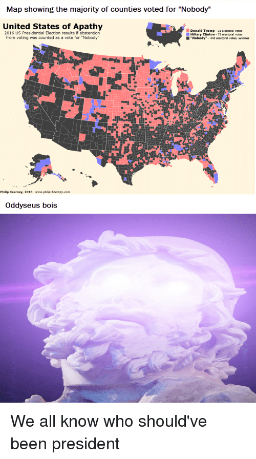 Map Showing the Majority of Counties Voted for Nobody United States ...