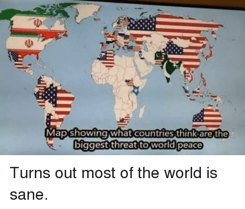 Map showing what countries think are the biggest threat to world world conspiracy and peace map showing what countries think are the biggest threat gumiabroncs Gallery