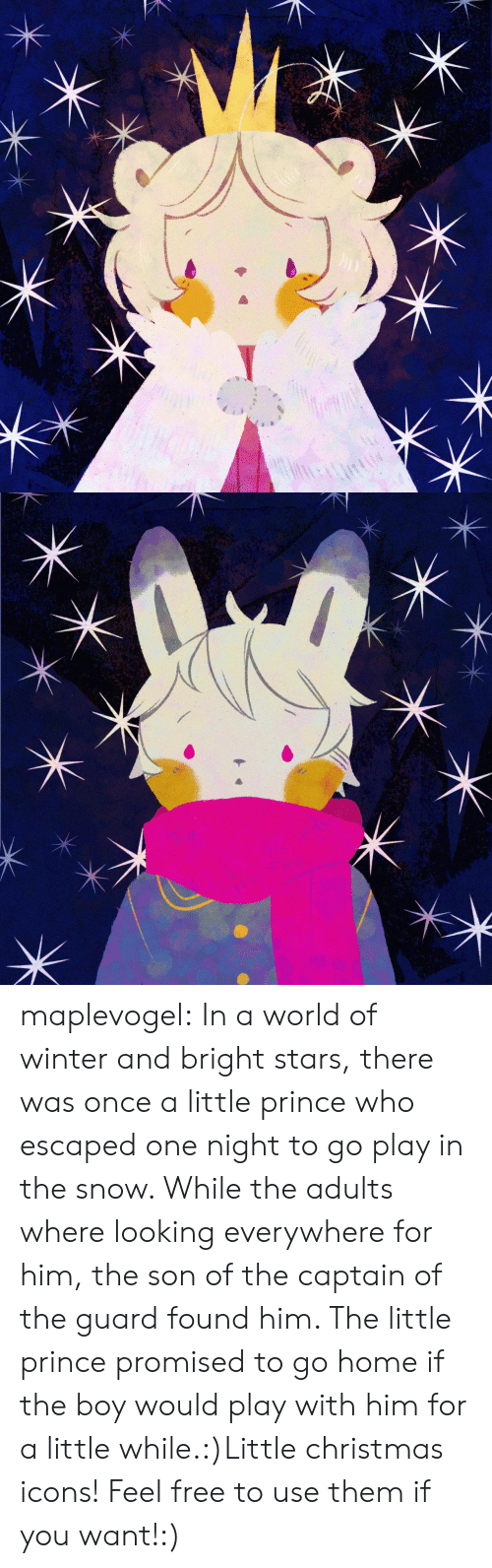 Christmas, Prince, and Target: maplevogel:  In a world of winter and bright stars, there was once a little prince who escaped one night to go play in the snow. While the adults where looking everywhere for him, the son of the captain of the guard found him. The little prince promised to go home if the boy would play with him for a little while.:)Little christmas icons! Feel free to use them if you want!:)