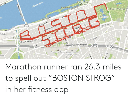 """Fitness, Engrish, and Her: Marathon runner ran 26.3 miles to spell out """"BOSTON STROG"""" in her fitness app"""