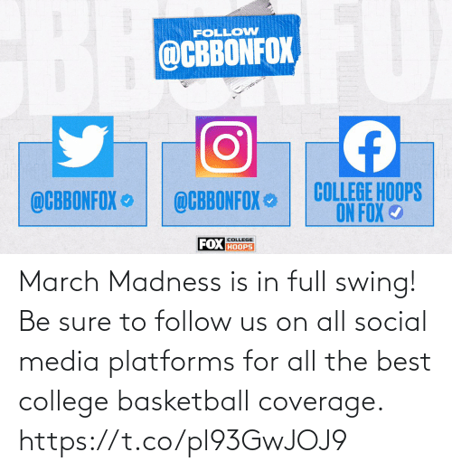 Basketball, College, and College Basketball: March Madness is in full swing!  Be sure to follow us on all social media platforms for all the best college basketball coverage. https://t.co/pl93GwJOJ9