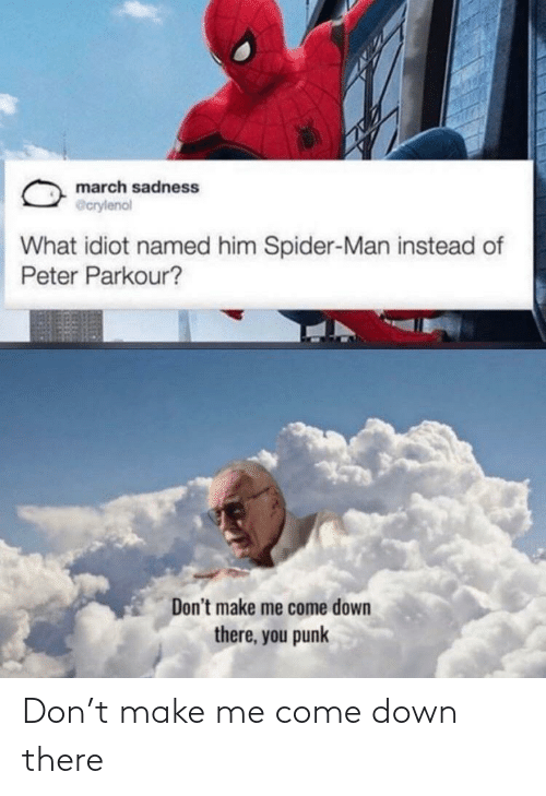 Spider, SpiderMan, and Parkour: march sadness  @crylenol  What idiot named him Spider-Man instead of  Peter Parkour?  Don't make me come down  there, you punk Don't make me come down there