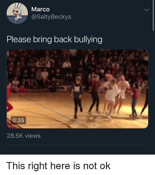 Funny, Back, and Bullying: Marco  @SaltyBeckys  Please bring back bullying  0:35  28.5K views This right here is not ok