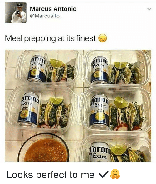 Gym, Extra, and Perfect: Marcus Antonio  @Marcusito  Meal prepping at its finest  un  ol on  ron  Extr  Extra Looks perfect to me ✔🤗