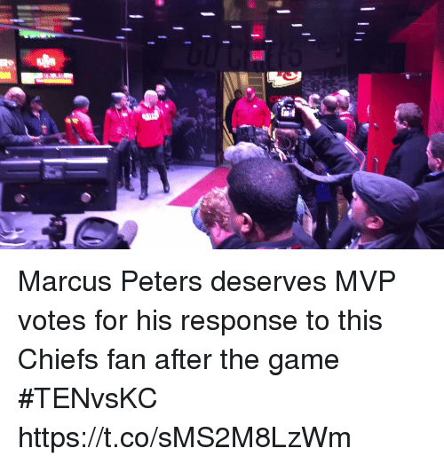 Sports, The Game, and Chiefs: Marcus Peters deserves MVP votes for his response to this Chiefs fan after the game #TENvsKC https://t.co/sMS2M8LzWm