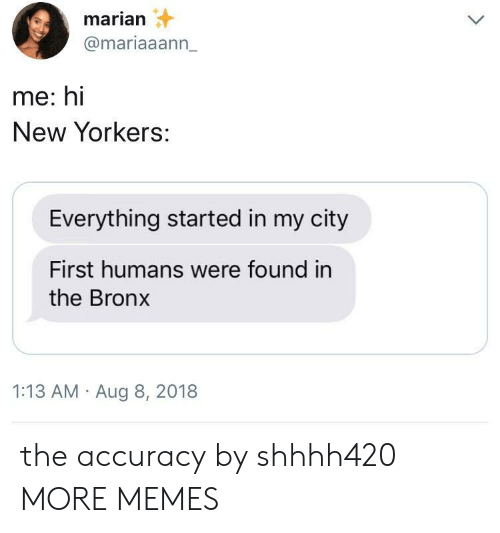 Dank, Memes, and Target: marian  @mariaaann_  me: hi  New Yorkers:  Everything started in my city  First humans were found in  the Bronx  1:13 AM Aug 8, 2018 the accuracy by shhhh420 MORE MEMES