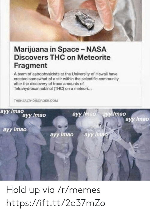 Community, Memes, and Nasa: Marijuana in Space - NASA  Discovers THC on Meteorite  Fragment  A team of astrophysicists at the University of Hawaii have  created somewhat of a stir within the scientific community  after the discovery of trace amounts of  Tetrahydrocannabinol (THC) on a meteori...  THEHEALTHDISORDER.COM  аyy Imao  ayy Imao ayy Imao  ayy Imao  аyy Imao  ayy Imao  ayy Imao  аyy Imao Hold up via /r/memes https://ift.tt/2o37mZo