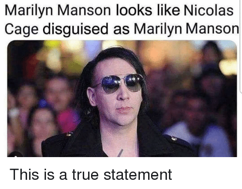Funny, Marilyn Manson, and Nicolas Cage: Marilyn Manson looks like Nicolas  Cage disguised as Marilyn Manson This is a true statement