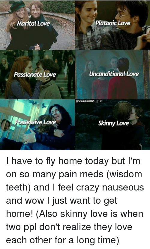 Crazy, Love, and Memes: Marital Love  Passionate Love  e Love  Platonic Love  Unconditional Love  SSLUGHORNS IIIG  Skinny Love I have to fly home today but I'm on so many pain meds (wisdom teeth) and I feel crazy nauseous and wow I just want to get home! (Also skinny love is when two ppl don't realize they love each other for a long time)