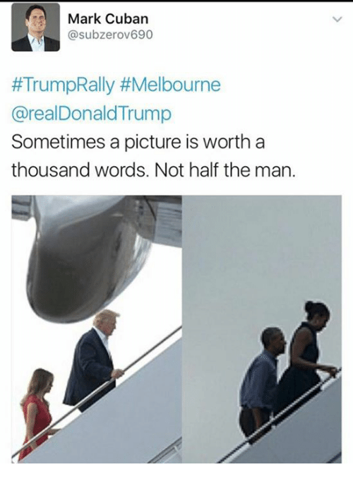Memes, Mark Cuban, and Trump: Mark Cuban  asubzerov690  #TrumpRally #Melbourne  @realDonald Trump  Sometimes a picture is worth a  thousand words. Not half the man.