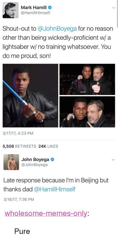 """Beijing, Dad, and John Boyega: Mark Hamill o  @HamillHimself  Shout-out to @JohnBoyega for no reason  other than being wickedly-proficient w/ a  lightsaber w/ no training whatsoever. You  do me proud, son!  3/17/17, 4:23 PM  5,508 RETWEETS 24K LIKES   John Boyega  @JohnBoyega  Late response because I'm in Beijing but  thanks dad @HamillHimself  3/18/17, 7:36 PM <p><a href=""""https://wholesome-memes-only.tumblr.com/post/168993278606/pure"""" class=""""tumblr_blog"""">wholesome-memes-only</a>:</p>  <blockquote><p>Pure</p></blockquote>"""