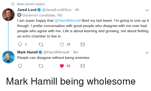 Bad, Life, and Mark Hamill: Mark Hamill replied  Jared Lord@JaredLord4Gov 4h  Governor candidate, NV  I am super happy that @HamillHimself liked my last tweet. I'm going to one up it  though. I prefer conversation with good people who disagree with me over bad  people who agree with me. Life is about learning and growing, not about finding  an echo chamber to live in  Mark Hamill@HamillHimself 9m  People can disagree without being enemies  62