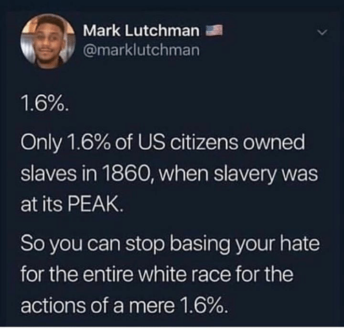 Memes, White, and Race: Mark Lutchman  @marklutchman  1.6%  Only 1.6% of US citizens owned  slaves in 1860, when slavery was  at its PEAK.  So you can stop basing your hate  for the entire white race for the  actions of a mere 1.6%.