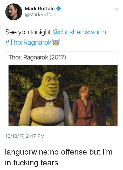 Fucking, Tumblr, and Mark Ruffalo: Mark Ruffalo  @MarkRuffalo  See you tonight @chrishemsworth  #ThorRagnarokw  Thor: Ragnarok (2017)  10/10/17, 2:47 PM languorwine:no offense but i'm in fucking tears