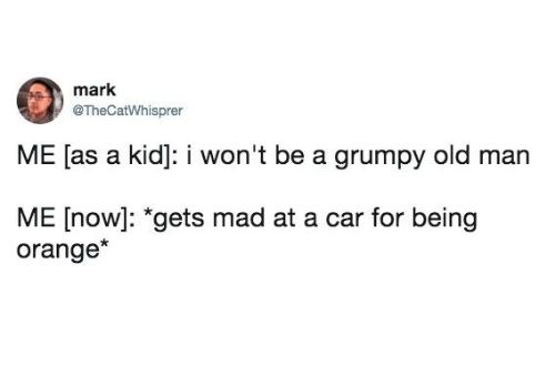 Dank, Old Man, and Orange: mark  @TheCatWhisprer  ME [as a kid]: i won't be a grumpy old man  ME [now]: *gets mad at a car for being  orange*