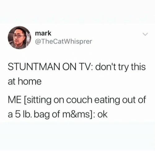 Dank, Couch, and Home: mark  @TheCatWhisprer  STUNTMAN ON TV: don't try this  at home  ME [sitting on couch eating out of  a 5 lb.bag of m&ms]: ok