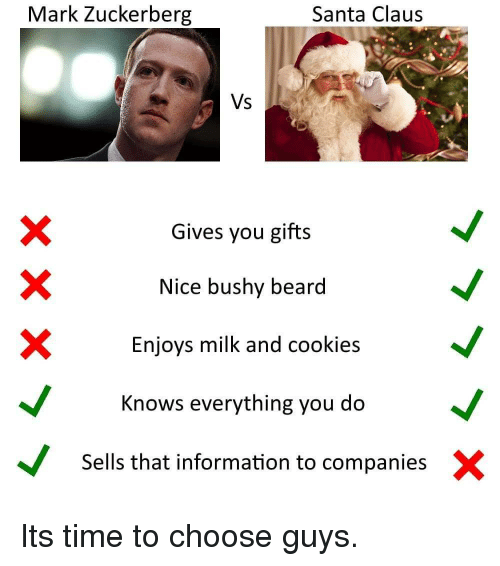 Beard, Cookies, and Mark Zuckerberg: Mark Zuckerberg  Santa Claus  Vs  Gives you gifts  Nice bushy beard  Enjoys milk and cookies  X  Knows everything you doV  Sells that information to companies X Its time to choose guys.