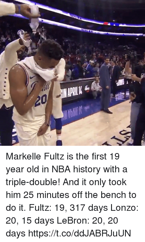Sizzle: Markelle Fultz is the first 19 year old in NBA history with a triple-double! And it only took him 25 minutes off the bench to do it.   Fultz: 19, 317 days Lonzo: 20, 15 days LeBron: 20, 20 days  https://t.co/ddJABRJuUN