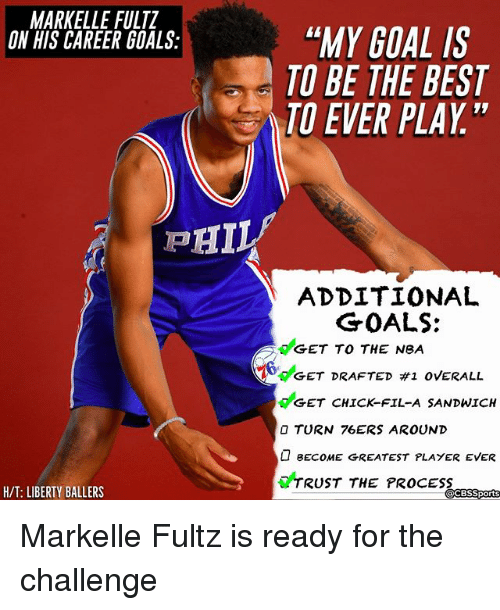 """Philadelphia 76ers, Chick-Fil-A, and Goals: MARKELLE FULTZ  ON HIS CAREER GOALS:  """"MY GOAL IS  TO BE THE BEST  TO EVER PLAY""""  ADDITIONAL  GET TO THE NeA  GET CHICK-FIL-A SANDWICH  GOALS:  6deET DRAFTED #1 OVERALL  O TURN 76ERS AROUND  BECOME GREATEST PLAYER EVER  TRUST THE PROCESS  H/T: LIBERTY BALLERS  CBSSports Markelle Fultz is ready for the challenge"""