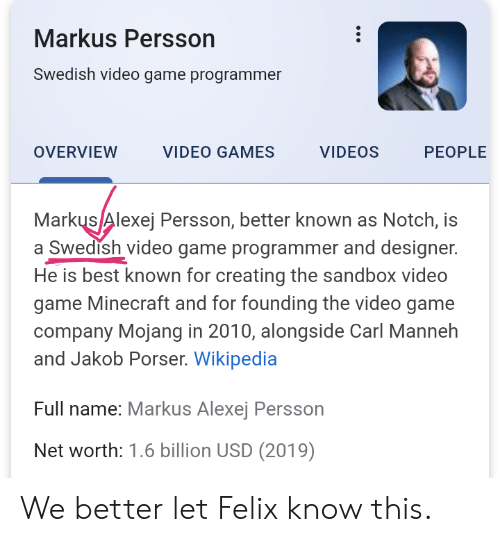 Markus Persson Swedish Video Game Programmer VIDEO GAMES
