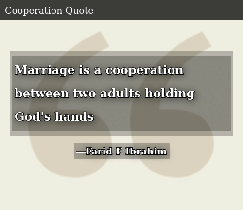 SIZZLE: Marriage is a cooperation between two adults holding God's hands