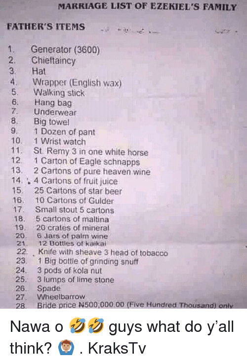 Beer, Family, and Head: MARRIAGE LIST OF EZEKIEL'S FAMILY  FATHER'S ITEMS  ...-  +-o-....  1. Generator (3600)  2. Chieftaincy  3 Hat  4 Wrapper (English wax)  5. Walking stick  6. Hang bag  7. Underwear  8. Big towel  9. 1 Dozen of pant  10. 1 Wrist watch  11. St. Remy 3 in one white horse  12. 1 Carton of Eagle schnapps  13. 2 Cartons of pure heaven wine  14.4 Cartons of fruit juice  15. 25 Cartons of star beer  16. 10Cartons of Gulder  17. Small stout 5 cartons  18. 5 cartons of maltina  19. 20 crates of mineral  20. 6 lars of palm wine  21.  22.  23.  24.  25.  26.  27.  28.  12 Bottles of kaikai  Knife with sheave 3 head of tobacco  1 Big bottle of grinding snuff  3 pods of kola nut  3 lumps of lime stone  Spade  Wheelbarrow  Bride price N500,000.00 (Five Hundred Thousand) only  . Nawa o 🤣🤣 guys what do y'all think? 🙆🏽♂️ . KraksTv