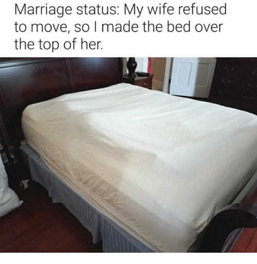 Dank, Marriage, and Wife: Marriage status: My wife refused  to move, so I made the bed over  the top of her.