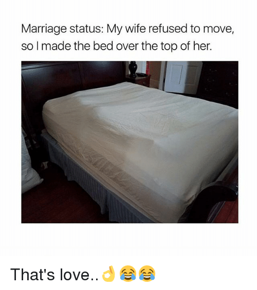 Love, Marriage, and Memes: Marriage status: My wife refused to move,  so made the bed over the top of her. That's love..👌😂😂