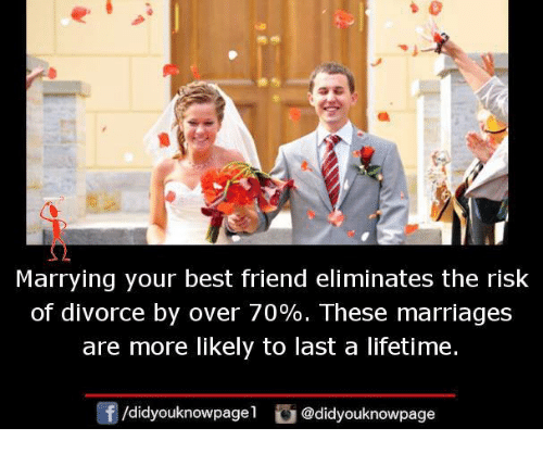 Best Friend, Memes, and Best: Marrying your best friend eliminates the risk  of divorce by over 70%. These marriages  are more likely to last a lifetime.  /didyouknowpagel @didyouknowpage