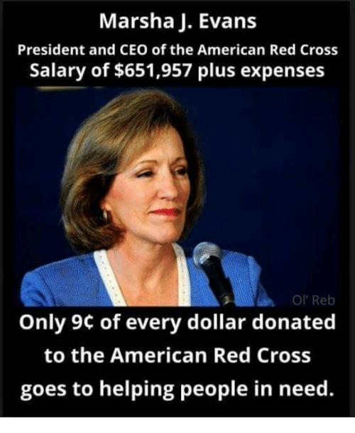 Marsha J Evans President And Ceo Of The American Red Cross Salary Of