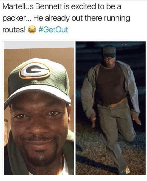 Running, Packer, and Get: Martellus Bennett is excited to be a  packer... He already out there running  routes!  #Get Out
