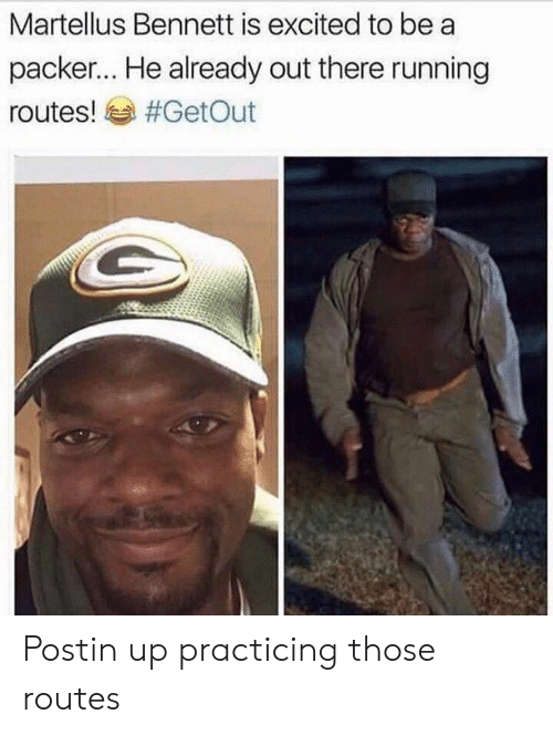 Running, Packer, and Excited: Martellus Bennett is excited to be a  packer... He already out there running  routes! sa Postin up practicing those routes