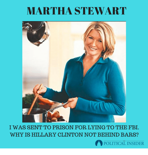 Fbi, Hillary Clinton, and Prison: MARTHA STEWART  I WAS SENT TO PRISON FOR LYING TO THE FBI.  WHY IS HILLARY CLINTON NOT BEHIND BARS?  POLITICAL INSID  POLITICAL INSIDER