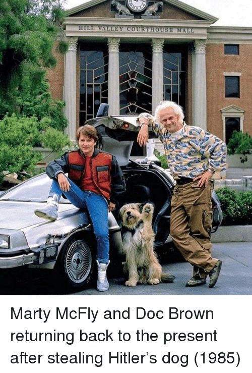 Marty McFly, Hitler, and Back: Marty McFly and Doc Brown returning back to the present after stealing Hitler's dog (1985)