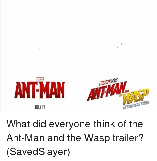 Memes, 🤖, and Ant Man: MARVEI STIDIDS  JULY 17  N CINEMAS SUON What did everyone think of the Ant-Man and the Wasp trailer?  (SavedSlayer)