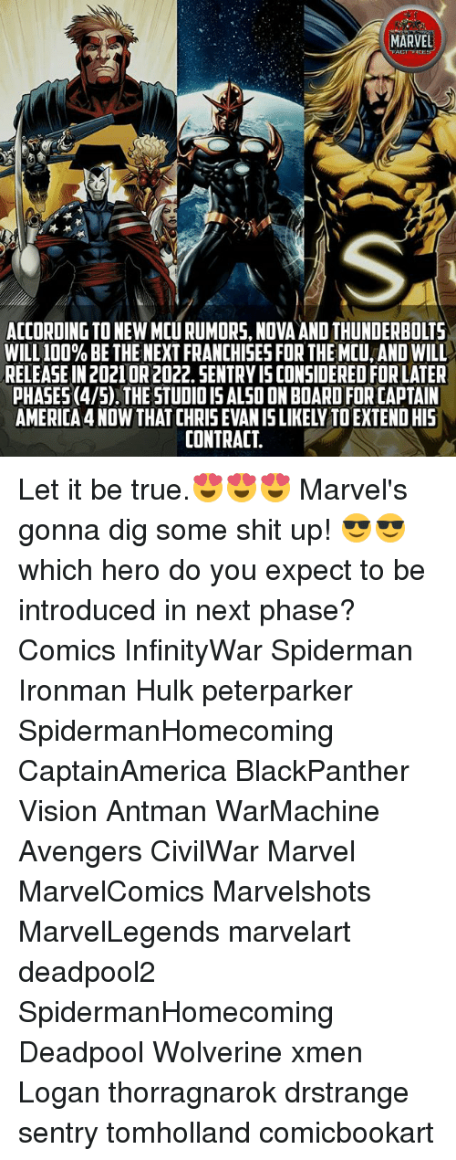 America, Anaconda, and Memes: MARVEL  ACT FICE  IS  ACCORDING TO NEW MCU RUMORS, NOVA AND THUNDERBOLTS  WILL 100% BE THE NEXT FRANCHISES FOR THE MCU, AND WILL  RELEASE IN 20210R 2022. SENTRY IS CONSIDERED FOR LATER  PHASES (4/5).THE STUDIOIS ALSO ON BOARD FOR CAPTAIN  AMERICA 4 NOW THAT CHRIS EVAN IS LIKELY TO EXTENDHIS  CONTRACT Let it be true.😍😍😍 Marvel's gonna dig some shit up! 😎😎 which hero do you expect to be introduced in next phase? Comics InfinityWar Spiderman Ironman Hulk peterparker SpidermanHomecoming CaptainAmerica BlackPanther Vision Antman WarMachine Avengers CivilWar Marvel MarvelComics Marvelshots MarvelLegends marvelart deadpool2 SpidermanHomecoming Deadpool Wolverine xmen Logan thorragnarok drstrange sentry tomholland comicbookart