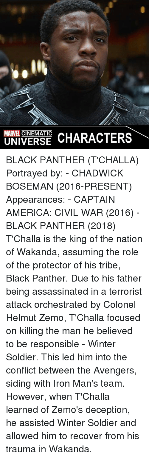 America, Assassination, and Captain America: Civil War: MARVEL CINEMATIC  CHARACTERS  UNIVERSE BLACK PANTHER (T'CHALLA)  Portrayed by: - CHADWICK BOSEMAN (2016-PRESENT)  Appearances: - CAPTAIN AMERICA: CIVIL WAR (2016) - BLACK PANTHER (2018)  T'Challa is the king of the nation of Wakanda, assuming the role of the protector of his tribe, Black Panther. Due to his father being assassinated in a terrorist attack orchestrated by Colonel Helmut Zemo, T'Challa focused on killing the man he believed to be responsible - Winter Soldier. This led him into the conflict between the Avengers, siding with Iron Man's team. However, when T'Challa learned of Zemo's deception, he assisted Winter Soldier and allowed him to recover from his trauma in Wakanda.