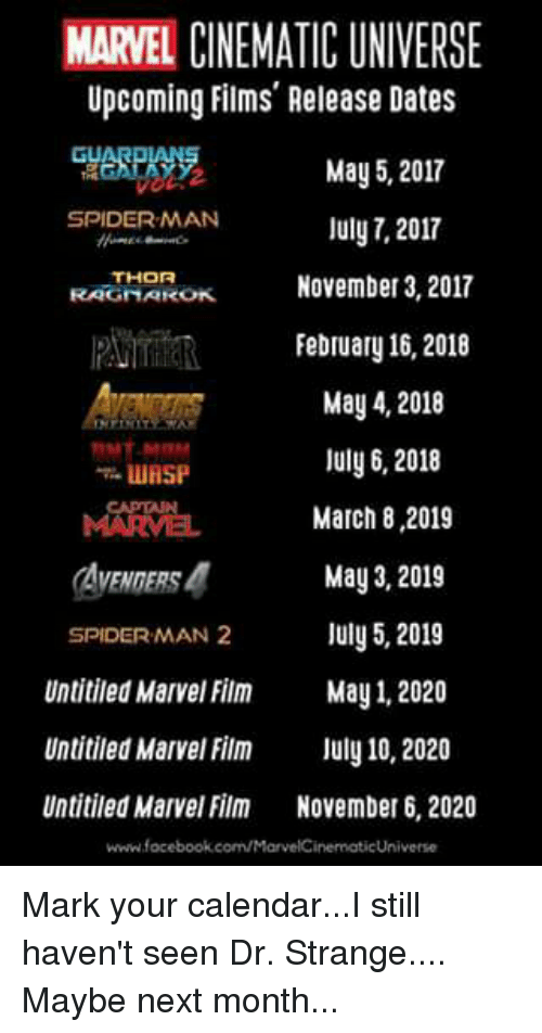 marvel film calendar