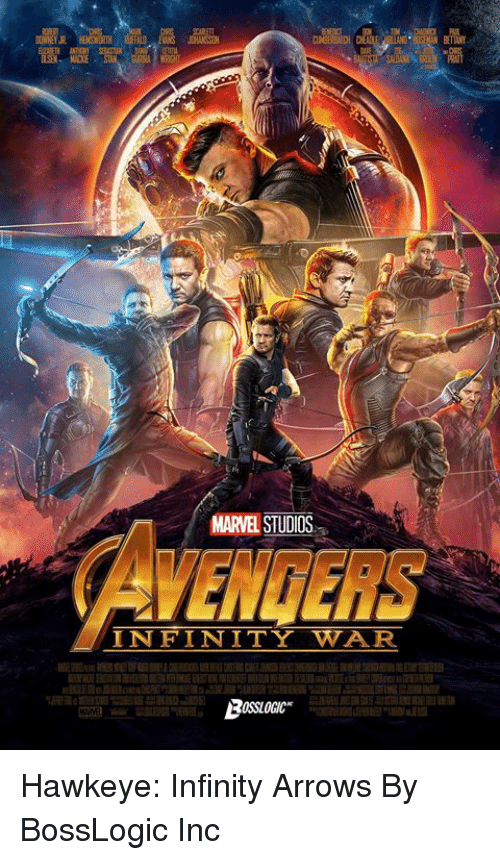 Dank, Infinity, and Marvel: MARVEL STUDIOS  WENGERS  INFINITY WAR Hawkeye: Infinity Arrows  By BossLogic Inc