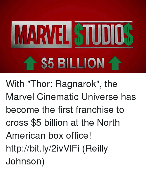 """Memes, American, and Box Office: MARVEL T  TUDIO  $5 BILLION With """"Thor: Ragnarok"""", the Marvel Cinematic Universe has become the first franchise to cross $5 billion at the North American box office! http://bit.ly/2ivVlFi  (Reilly Johnson)"""