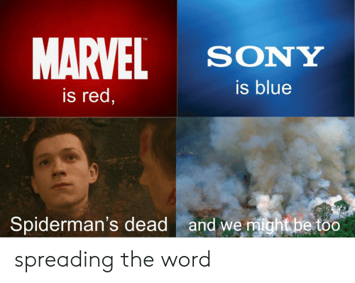 Sony, Blue, and Marvel: MARVEL  TM  SONY  is blue  is red,  and we might be too  Spiderman's dead spreading the word