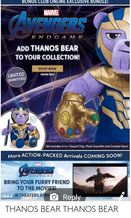 MARVEL VENGERS E N DGA ME ADD THANOS BEAR TO YOUR COLLECTION