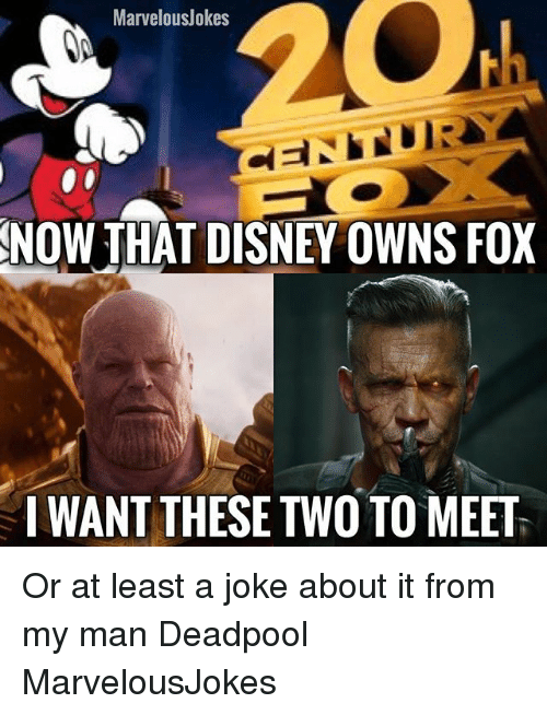 Disney, Memes, and Deadpool: MarvelousJokes  NOW THAT DISNEY OWNS FOX  I WANT THESE TWO TO MEET Or at least a joke about it from my man Deadpool MarvelousJokes