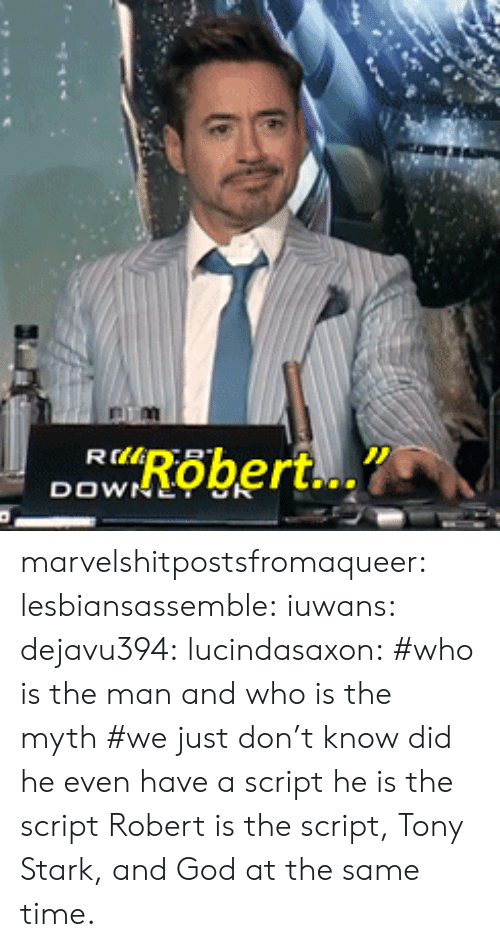 Gif, God, and Target: marvelshitpostsfromaqueer:  lesbiansassemble:  iuwans:  dejavu394:  lucindasaxon:  #who is the man and who is the myth #we just don't know  did he even have a script   he is the script    Robert is the script, Tony Stark, and God at the same time.