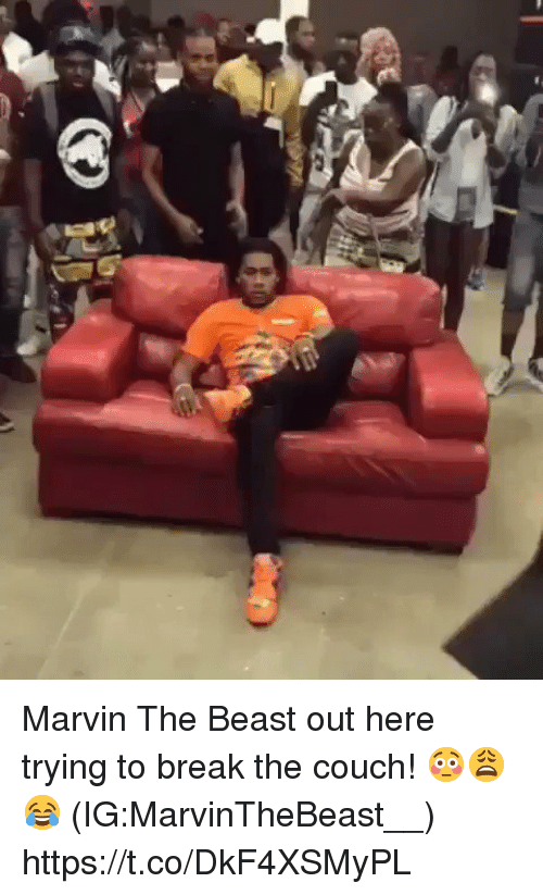 Break, Couch, and Beast: Marvin The Beast out here trying to break the couch! 😳😩😂 (IG:MarvinTheBeast__) https://t.co/DkF4XSMyPL
