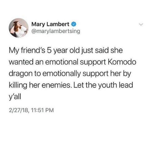 Friends, Old, and Enemies: Mary Lambert  @marylambertsing  My friend's 5 year old just said she  wanted an emotional support Komodo  dragon to emotionally support her by  killing her enemies. Let the youth lead  y'all  2/27/18, 11:51 PM