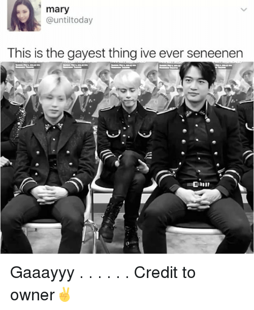 Memes, Today, and 🤖: mary  @until today  This is the gayest thing ive ever seneenen Gaaayyy . . . . . . Credit to owner✌