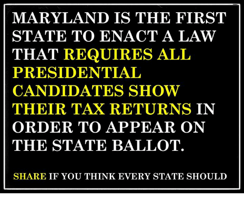Maryland, The State, and Law: MARYLAND IS THE FIRST  STATE TO ENACT A LAW  THAT REQUIRES ALL  PRESIDENTIAL  CANDIDATES SHOW  THEIR TAX RETURNS IN  ORDER TO APPEAR ON  THE STATE BALLOT.  SHARE IF YOU THINK EVERY STATE SHOULD