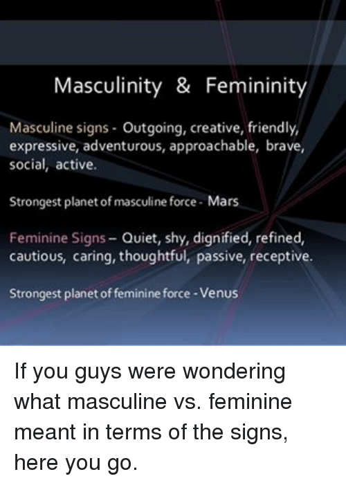 Masculinity & Femininity Masculine Signs Outgoing Creative