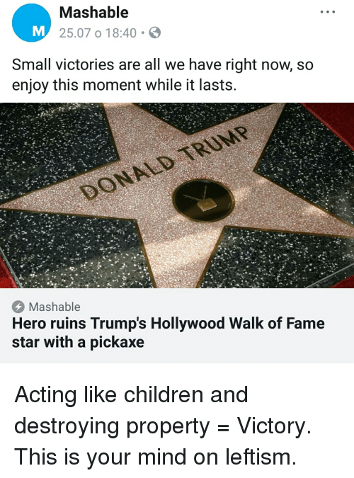 Children, Star, and Acting: Mashable  25.07 o 18:40  Small victories are all we have right now, so  enjoy this moment while it lasts  Mashable  Hero ruins Trump's Hollywood Walk of Fame  star with a pickaxe